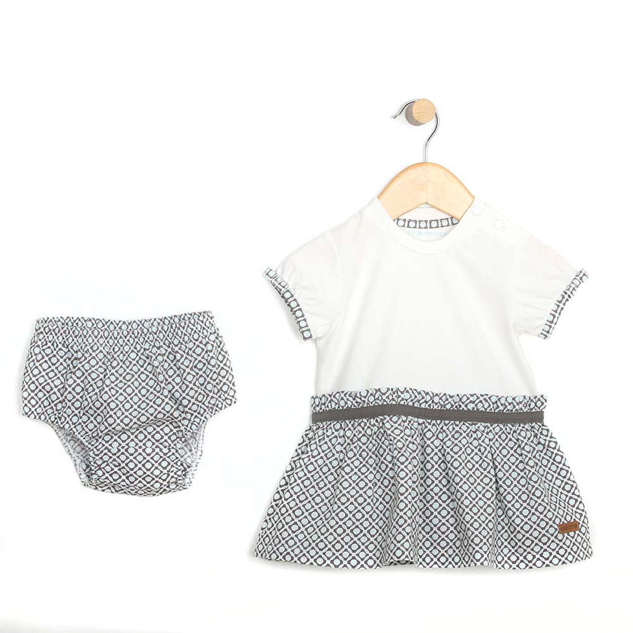 17c3087f2354 Cotton dress with diaper cover for baby and toddler girls. White top and  aqua and