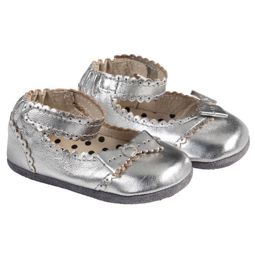 Angle - Robeez Silver Catherine Mini Shoez