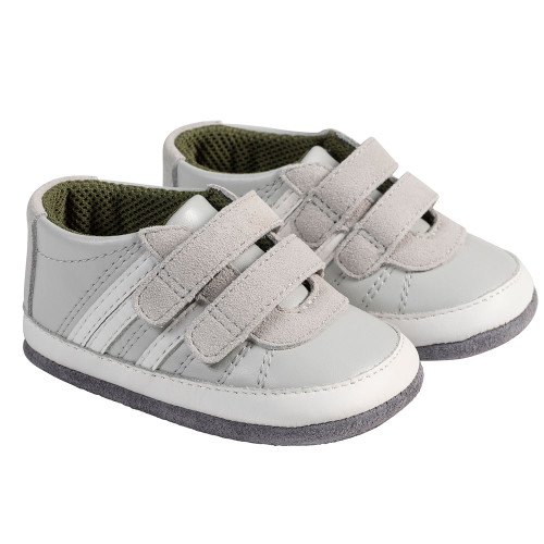 Angle - Robeez Grey Carter Mini Shoez