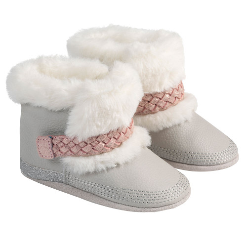 Angle - Robeez Grey Montana Soft Soles Boots