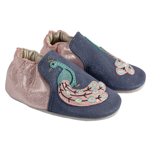 Angle - Robeez Navy Penelope Peacock Soft Soles