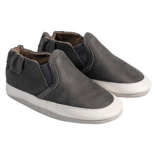 Angle - Robeez Charcoal Grey Liam Soft Soles