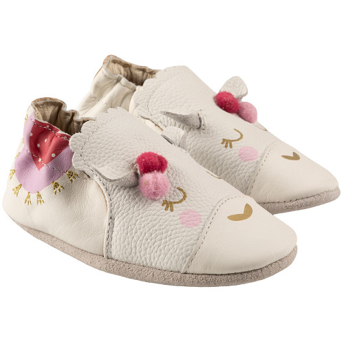 Robeez Luna Soft Soles, White Leather - Angle