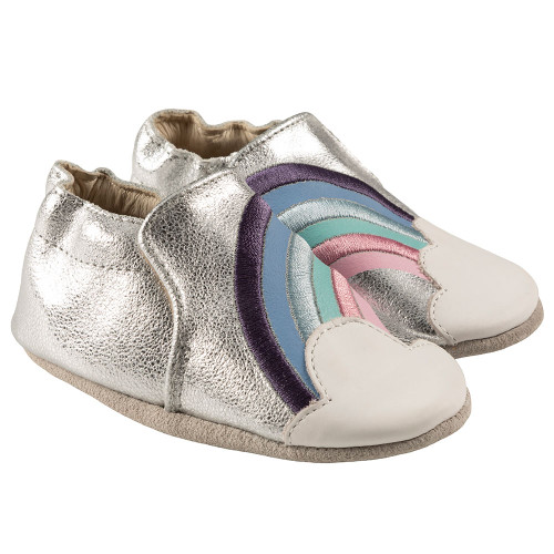 Robeez Hope Soft Soles, Silver Leather - Angle