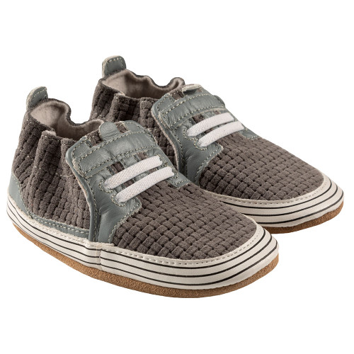 Robeez Jude Soft Soles, Grey Leather - Angle