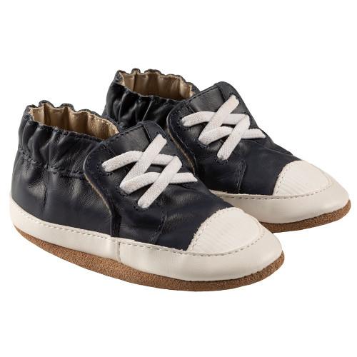Robeez Corey Soft Soles, Navy Leather - Angle