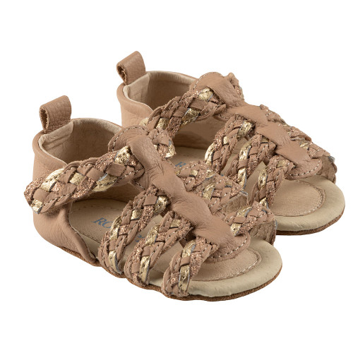 Robeez Rae First Kicks, Nude/Gold Leather - Angle
