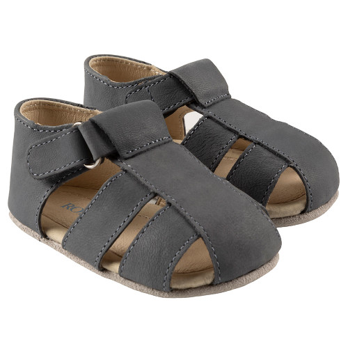 Robeez Mathew First Kicks, Grey Leather - Angle