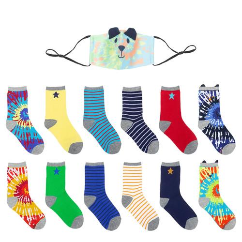 Robeez Tie Dye Crew Socks with Mask - Multi