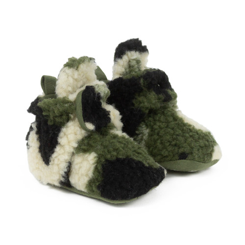 Cozy Camo Snap Booties Olive Green