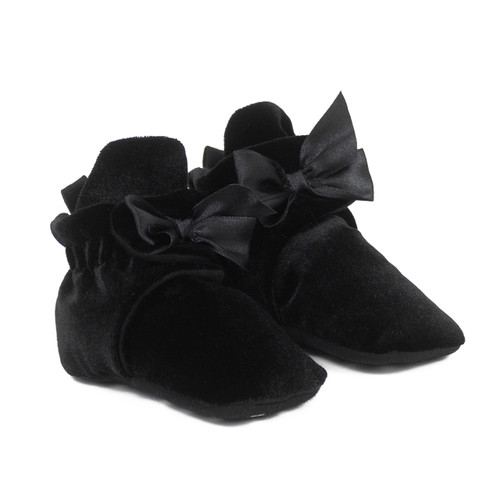 Holiday Bow Snap Booties Black