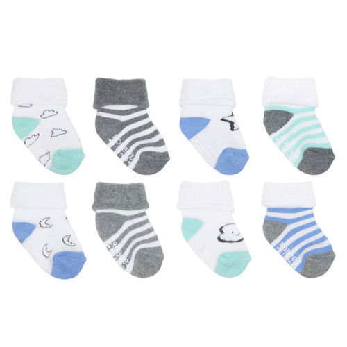 Moon & Stars 8-Pack Infant Cuff Socks