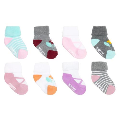 Flower MJs 8-Pack Infant Cuff Socks