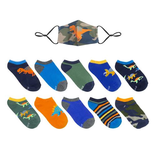 Camo Dinos 10-Pack Kids Socks with Mask