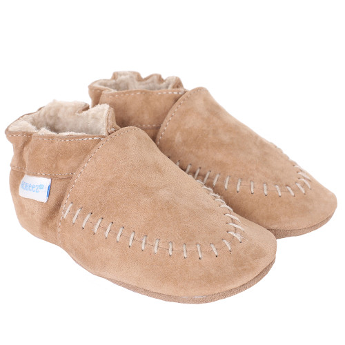 Robeez Cozy Moccasin Soft Soles, Taupe, Boys, Baby, Infant, Pre-Walker, Toddler, Shoes,  0-24 Months, side