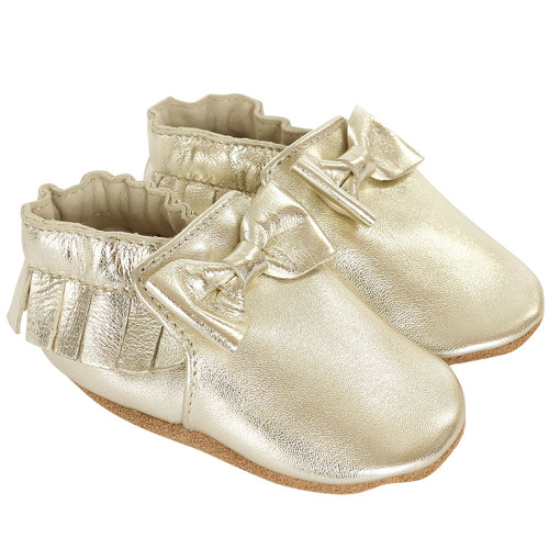 Robeez Premium Leather Maggie Moccasins Gold Soft Soles - Angle