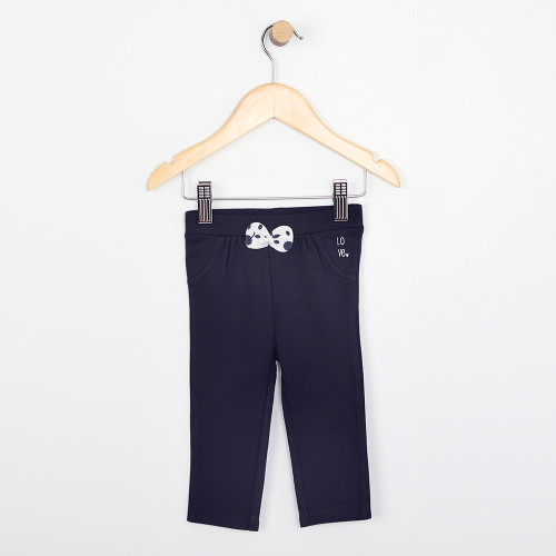 Navy cotton pants for baby girls with white bow
