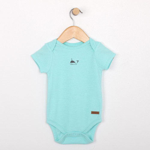 Turquoise cotton onesie, one piece baby and infant clothing