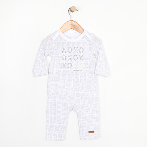 White coverall onesie for infants and babies.  Part of our new infant apparel collection.