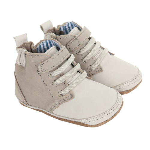 Cream and grey lace up baby shoes with soft soles for ages 0 - 24 months.