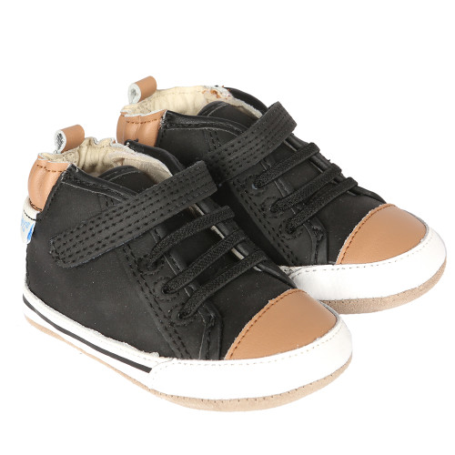 9aafb6c78549 Black leather high-top baby shoe inspired by high-top sneakers. This infant