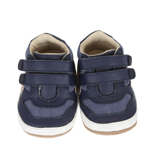 19331986a9b5 ... Navy leather and canvas baby shoe for infants
