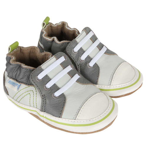 Boys Baby Shoes in grey leather designed to look like athletic shoes.