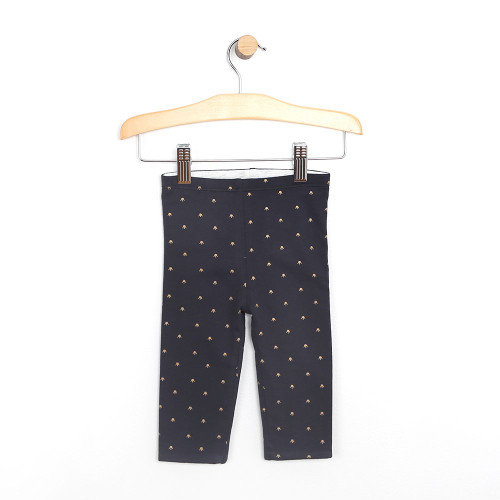Reversible pants for baby girls.  Navy and Heather Grey.