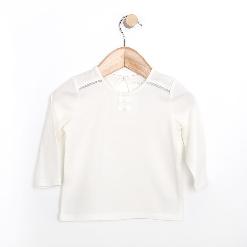 Girls Shirt for babies, infants and toddlers. White cotton top.