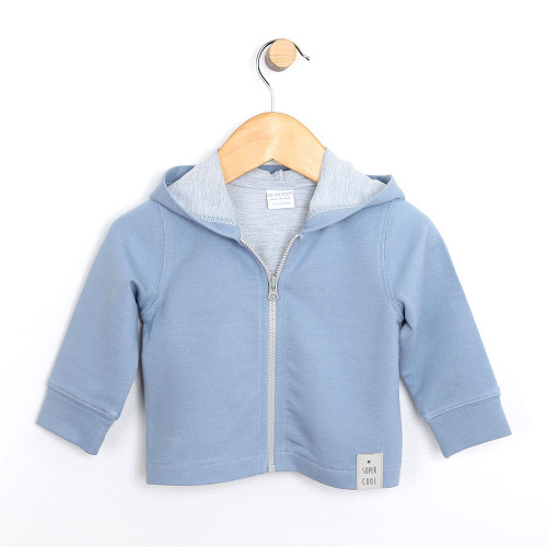 Baby jacket in french terry. Blue. Zipper and hood.