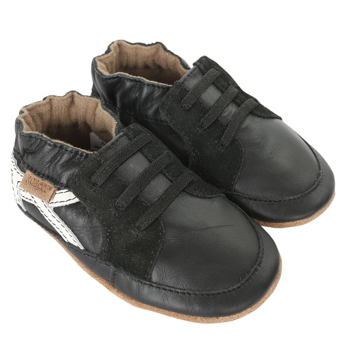 Robeez Super Sporty Black Soft Soles - Angle