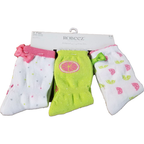3 pairs of cotton baby socks for girls.   Ages 0 - 4 years.  In pink, white and green  with ribbons.