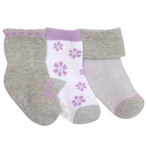 Robeez Purple Flowers Socks, 3-Pack