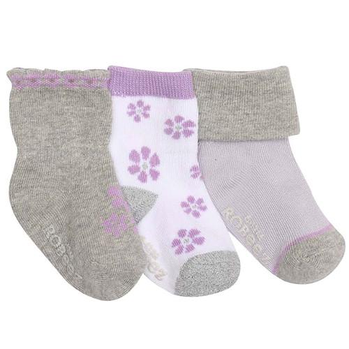 Robeez Purple Flowers Socks, 3-Pack