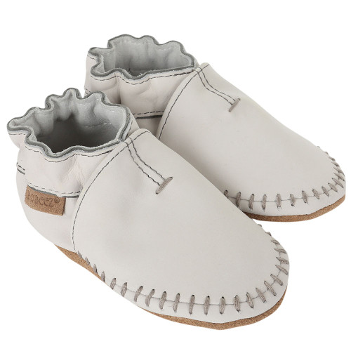 Robeez Premium Leather Moccasins Grey Soft Soles - Angle