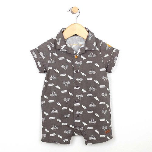 Grey cotton one piece romper for baby and toddler boys.  Screen printed with icons. Front view.