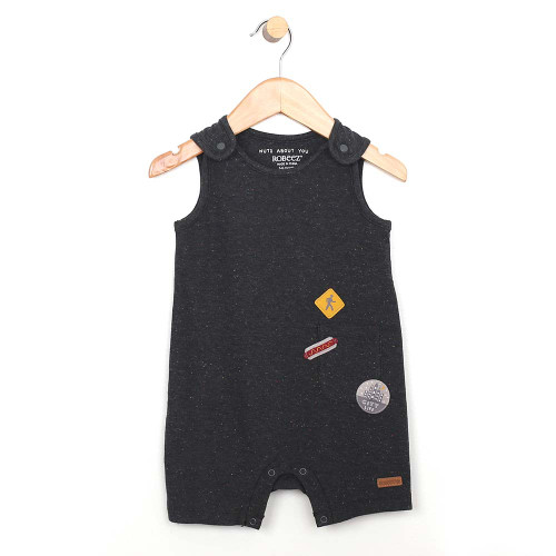 Grey cotton romper for baby and toddler boys.  Sleeveless