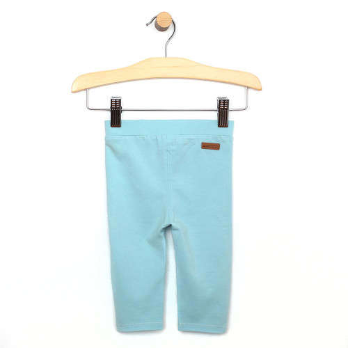 Turquoise cotton legging/pant for baby and toddler girls. Front view.
