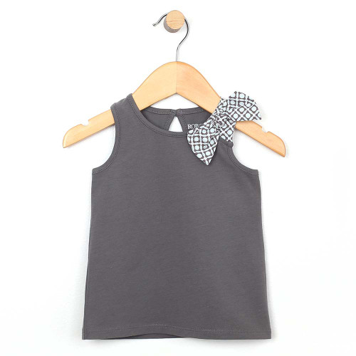 Grey cotton tank top for baby and infant girls with bow on shoulder.  Front view.