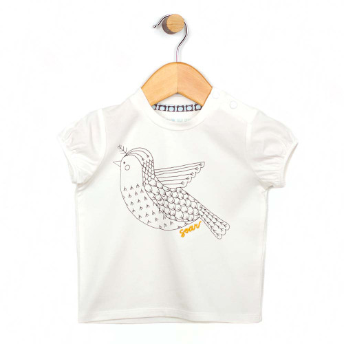 Front view of a white cotton shirt for baby and infant girls.  Features a bird.