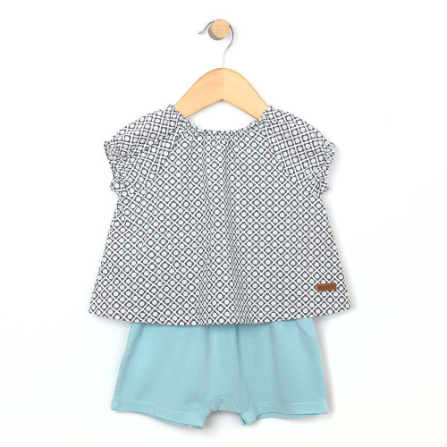 Front view of baby and toddler romper .