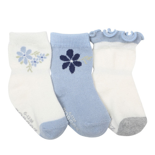 Pretty in Blue Baby Socks, 3 Pack