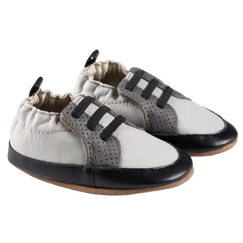 Robeez Grey/Black Trendy Trainer Soft Soles - Angle