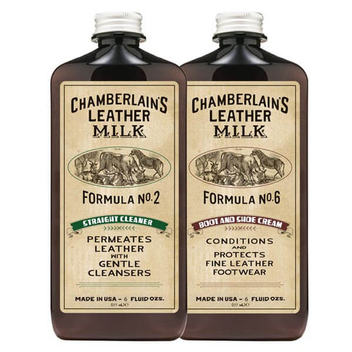 Boot & Shoe Clean & Condition Leather Care Set: No. 2 & No. 6 with 2 Applicator Pads