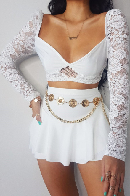 White Lace Sleeve Bralet