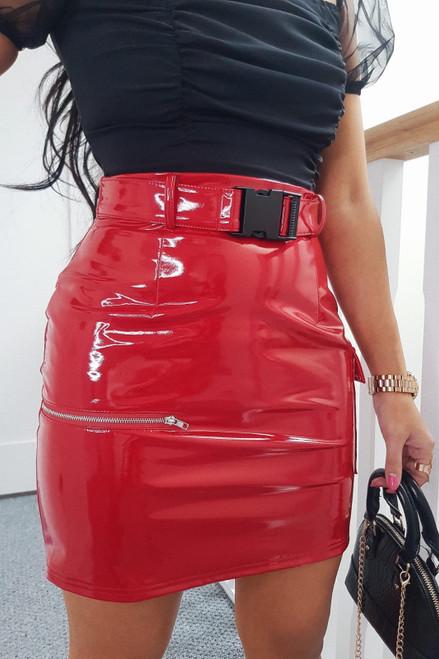 Red Vinyl Buckle Skirt