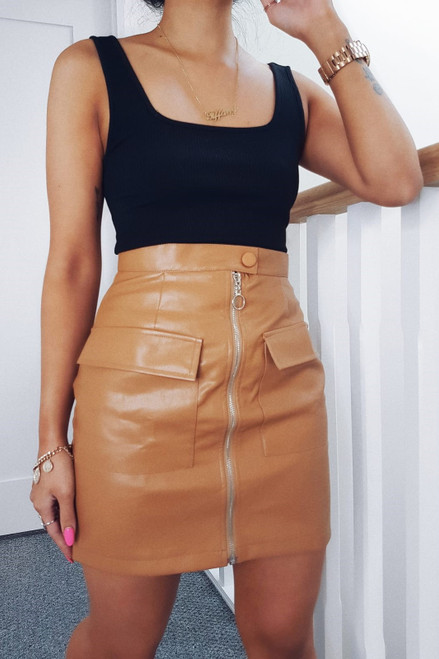 Tan PU Zip Skirt