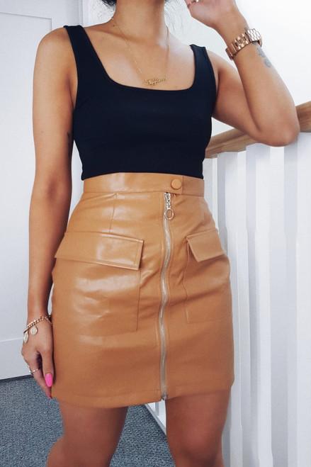 Tan PU Zip Skirt