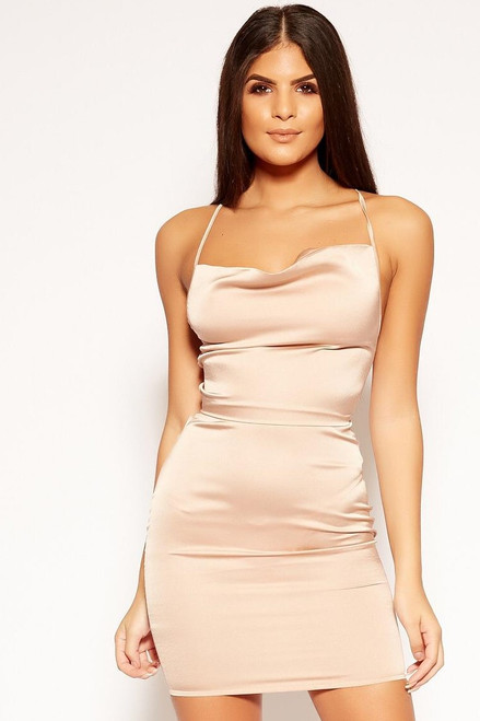 Nude Tie Back Satin Mini Dress