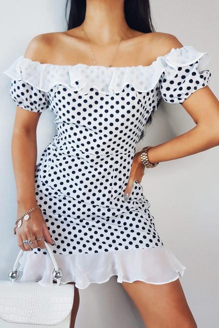 White Polkadot Frill Dress